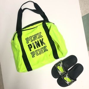 Neon Yellow Nylon gym duffel overnight bag